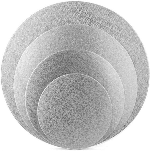 Different size silver round cake drum
