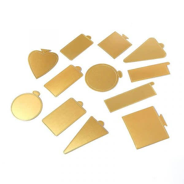 different shape gold cake board