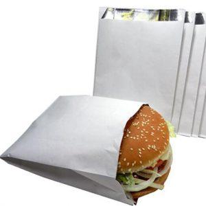 White paper outside foil inside burger bag